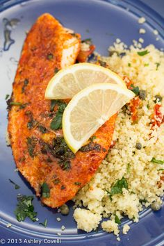 Parmesan-Crusted Tilapia... Used Parmesan-Romano. Paired with w/ couscous. Quick & edible, but idk if I'll make it again 😏