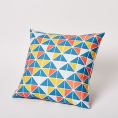 Triangle Print Pillow in Surf Van.