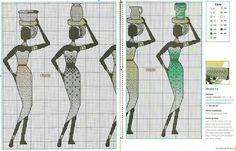 0 point de croix femmes africaines porteuses d'eau- cross stitch african women water carriers