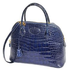 Hermès Fabulous Blue Alligator Bolide Handbag | From a collection of rare vintage top handle bags at https://www.1stdibs.com/fashion/handbags-purses-bags/top-handle-bags/