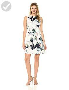 Ellen Tracy Women's Sleeveless Seamed Flounce Dress, Floral/Multi Chambray, 6 - All about women (*Amazon Partner-Link)