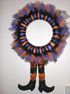 Witch wreath....you could use different colors and go for the Wizard of Oz theme...how cute would that be!!!