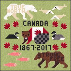 With only two weeks left in the year. I am scrambling to finish up the two Canada 150 quilts designed for the upcoming Anni. Quilt Block Patterns, Quilt Blocks, Paper Piecing, Canadian Quilts, Quilts Canada, 16 Patch Quilt, Wildlife Quilts, Canada 150, Barn Quilts