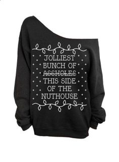 4477563879250100428977 Ugly Christmas Sweater   Black Slouchy Oversized crew. Perfect for my family Christmas dinner!