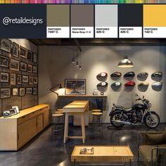 #royalenfield #flagship #store #newdelhi #retail #interior #design #retaildesign #interiordesign #store #storedesign #shopdesign #shop #table #stool #seating #wooden #frames #storage #lightfitting #colors #colorlovers #colorscheme #colortrend #diseñodeinteriores