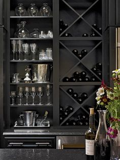 Interior ~ Home Bar Design Focus On Modern Criss Cross Diy Wine Rack And Compact Glass Storage Shelves Idea Creative DIY Wine Rack for Beautiful Home Design. - Home Designs 2017 Küchen Design, House Design, Design Ideas, Interior Design, Design Concepts, Interior Ideas, Wine Cabinets, Kitchen Cabinets, Cupboards