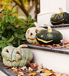 I am going to grab some green, white or gray pumpkins this year for a spooky Halloween Jack-o-lantern look.