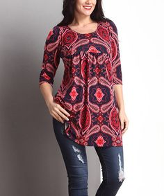 Look what I found on #zulily! Red Paisley Empire-Waist Tunic Dress - Plus…