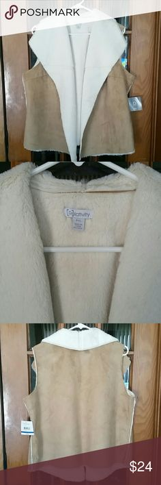 Faux Fur Suede Vest Very soft and pretty faux fur vest. Cream color on the inside and camel color suede on the outside.  Brand is Relatively.  NWT  Size is petite XL Smoke Free Home Relativity Jackets & Coats Vests