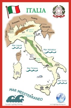 Poster of Italy, 11x17 inches. Features major rivers, mountains, and more, listed in Italian. $7.99