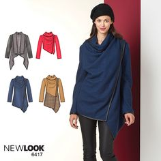 DIY chic long sleeve draped jacket for colder months with NewLook pattern 6417!