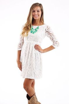 Beauty and Grace Dress, ivory $43 www.themintjulepboutique.com