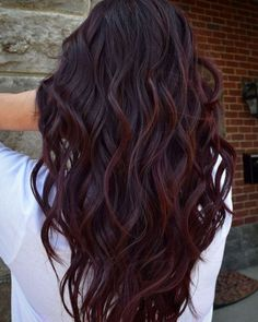 """""""Wine Hair"""" Is the Best Way for Brunettes to Rock Deep Purple This Fall - Hair - Hair color Hair Color Purple, Cool Hair Color, Color Red, Deep Burgundy Hair Color, Deep Purple Hair, Purple Ombre, Dark Red Brown Hair, Black Hair With Red Highlights, Hair Color For Brown Skin"""
