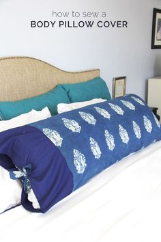 Learn how to sew a body pillow cover with this easy body pillowcase DIY. You can make a body pillow cover in less than one hour, and make a custom bed set.