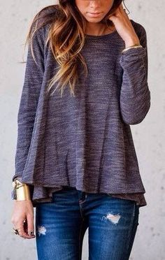 simple top & ripped jeans