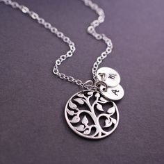 Sterling Silver Tree of Life Necklace, Personalized Mother's Day Gift from georgiedesigns