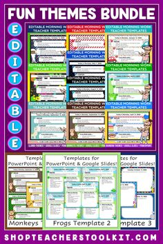 This fun-themed Editable PowerPoint and Google Slides Teacher Templates Bundle includes space to type the day and date, reminders of what to do when entering the classroom, as well as 'must do' and 'may do' assignments. Remind your students of their morning assignments during arrival time by displaying them on your whiteboard or SMARTBoard. #teachertemplates #morningarrivalinstructions #editable #powerpoint #googleslides #funthemes #bundlesavings