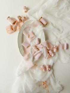 Beige silk ribbons hand dyed on wooden spool for an elegant wedding design #beigesilkribbon #lattesilkribbon #cafeaulaitsilkribbon #taupesilkribbon