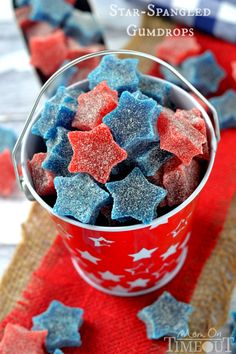Star-Spangled Gumdrops | Chewy and tart/sweet, these gumdrops are a fun treat for adults and kids alike. Cutting them into cute start shapes is pure genius. So fun and festive!  @momontimeout