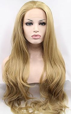 K'ryssma Good Looking Natural Wavy Heat Resistant Synthetic Hair Golden Blonde #24 Front Lace Wigs for White Women 20 Inches K'ryssma