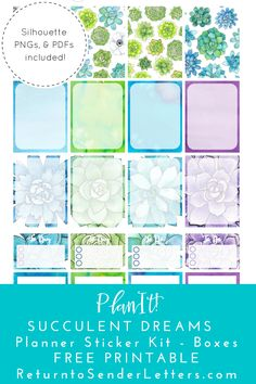 Succulent Dreams Planner Stickers Part II - Full & Half Boxes - FREE PRINTABLE!