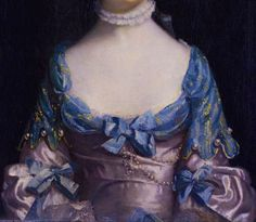 Fanciful dress often used by painters (and not necessarily owned by the sitter) for such portraits, with Van Dyke elements to sleeves, and often to collar and elbows, with a ruff about the throat. Large pearl buttons, silk bows and pearls pinned within the drapery. Detail Miss Maria Elizabeth Boothby, 1758, by Sir Joshua Reynolds