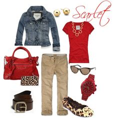 Red and leopard casual outfit