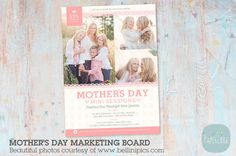 ♥ Welcome to Paper Lark ♥ Advertise your Mother's Day Mini Sessions promotions with this multi use marketing board. It is perfect for using as a flyer or posting to your website, blog or