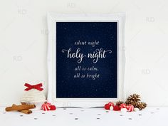 Silent Night Holy Night All is Calm All is Bright Printable by RissDesign