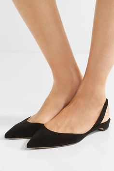 Heel measures approximately 15mm/ 0.5 inches Black suede Elasticated slingback strap Made in Italy