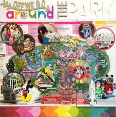 Off We Go Around The Park Disney scrapbook page layout