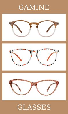 3 Pairs of Glasses for the gamine body type, one of thirteen Kibbe body types. Gamines have high-energy and contrasted bodies. The glasses that suit them the most are unique, patterned, and a mix of feminine and masculine elements. Learn more about the Kibbe body types at cozyrebekah.com