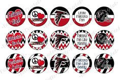 """Atlanta Falcons INSPIRED   - 1"""" Image Sheet for use on bottle caps, necklaces, bow centers, crafts, confetti, party supplies and more!"""