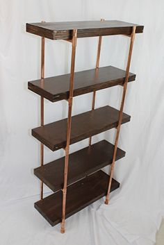 """Hickory-stained plywood & copper pipe shelves by Paul Segedin & Urban Prairie Design. ~ 48"""" high x 24"""" wide x 8"""" deep. Shelves are available through our website for $275. Shelves can be customized in a variety of sizes, stains, and configurations."""