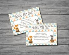This adorable woodland themed printable baby shower invitation will be the perfect way to announce the upcoming celebration! It includes the popular book request card and diaper raffle card. The invitation will be personalized with all the details of your event.  This listing is for a digital file (JPEG or PDF) of a 5x7 baby shower invitation for printing at home, through online printing sources, or your local printer. The book request card measures 3.5x5 and diaper raffle card measures 2x3…