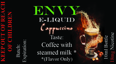 Envy Premium E liquid Collection Cappuccino Sale! $4.95