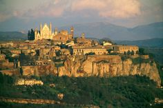 Orvieto, Italy, is one of the most dramatically situated in all of Europe, atop cliffs of tuff (consolidated volcanic ash).