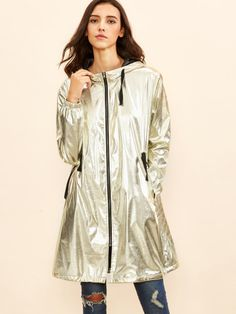 Gold Metallic Zipper Drawstring Hoodie Coat