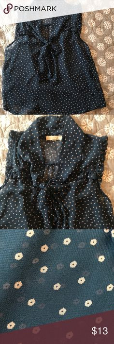 5c68961586 Lush sheer navy blue top Great condition lush navy blue sleeveless top with  beige flowers.