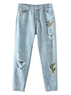 SHARE & Get it FREE | Cereus Embroidered Ripped Jeans - Light Blue MFor Fashion Lovers only:80,000+ Items • New Arrivals Daily Join Zaful: Get YOUR $50 NOW!