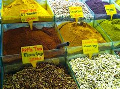 Teas and spices for sale in the Spice Bazaar in Istanbul. #FriFotos
