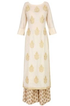 LAJJOO C | Ivory golden thread embroidered kurta with palazzo pants available only at Pernia's Pop Up Shop.