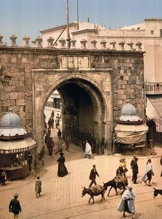 1899. French Gate, Tunis, Tunisia. This imposing gate is also known as the Porte de France and is located at the Medina eastern point where Ville Nouvelle (new city) begins.