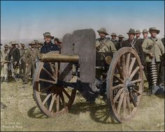 "Boer Staatsartillerie (State Artillery) troops with ""Pom-Pom"" gun in Ermelo, South Africa, Note the battle damage on the shield. The Spanish American War, American Civil War, Colorized History, Christian Soldiers, War Film, Naval, World War One, British Colonial, British Army"