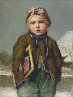 """""""Schulknabe mit Schiefertafel in Schneelandschaft"""". Albert Anker  (Swiss, 1831–1910), oil on canvas."""