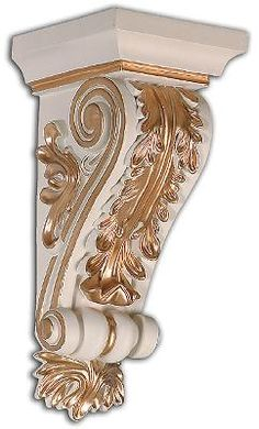 I have plain gold scarf-curtain/curtain rod sconces, but maybe I shall paint them like this!   Gold Leaf Scroll Wall Sconce   interiormall.com