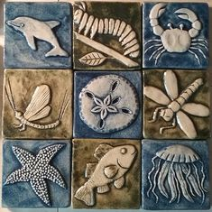 clay tiles insect and sea creature tiles - clay Ceramic Tile Backsplash, Ceramic Tile Art, Clay Tiles, Ceramic Pottery, Pottery Art, Ceramic Planters, Ceramic Mugs, Ceramic Christmas Decorations, Handmade Tiles