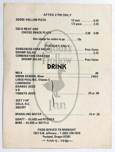 1980 vintage menu card goose hollow inn restaurant portland oregon - Chins Kitchen 2