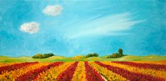 Oil painting Dutch Landscape Tulipfields in red and by NancyvdBoom, €150.00