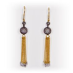 Gold Tassle with Black Pave Ball & Clear Drops by Be-Je Designs $129.99